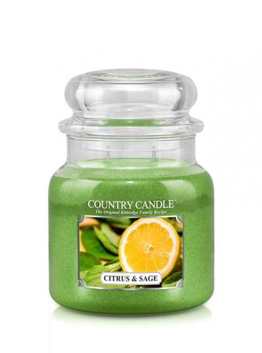 Country Candle - Citrus and Sage - Średni słoik (453g) 2 knoty