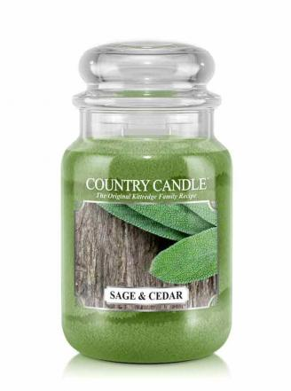 Country Candle  Sage and Cedar  Duży słoik (652g) 2 knoty